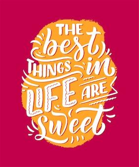 Citazione divertente, citazione ispiratrice per la stampa di caffè o prodotti da forno. calligrafia a nastro e pennello in rilievo. slogan lettering dessert in stile disegnato a mano.