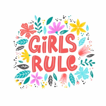 Citazione ispiratrice femminista 'girls rule'