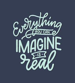 Citazione ispiratrice sul sogno. illustrazione disegnata a mano vintage con elementi di scritte e decorazioni.