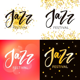 Citazioni di lettere disegnate a mano su collezioni di festival jazz isolato su sfondo bianco. le illustrazioni di calligrafia di vettore dell'inchiostro della spazzola di divertimento hanno messo per le insegne, la cartolina d'auguri, progettazione del manifesto.