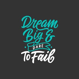 Citazioni motivazionali poster design tipografia