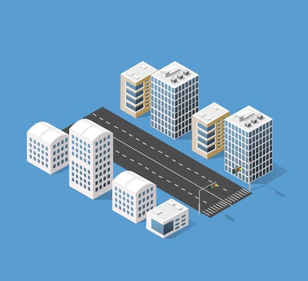 Città 3d isometrica tridimensionale