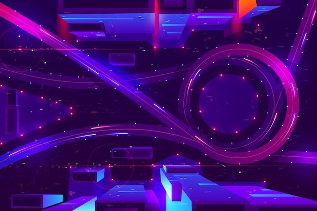 Città al neon di notte con la vista superiore di interscambio di trasporto.
