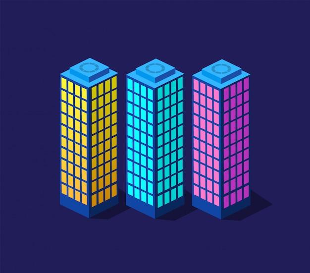 Città astuta dell'illustrazione 3d su un ultravioletto viola
