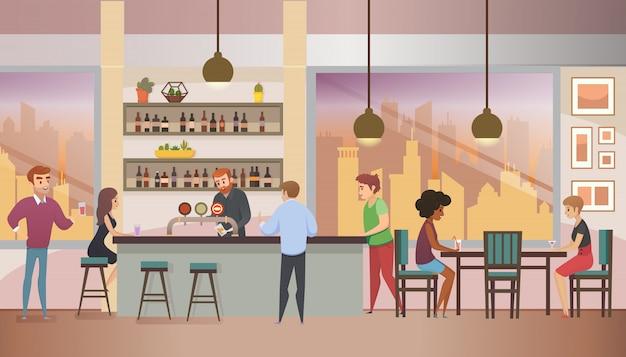 Città bar pieno di visitatori illustrazione vettoriale piatta