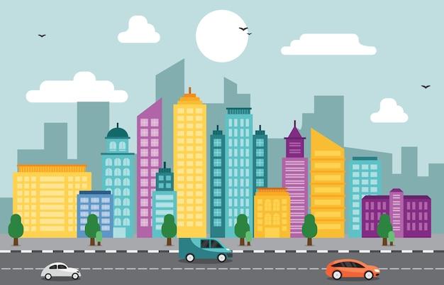 Città cityscape skyline landmark building traffic street