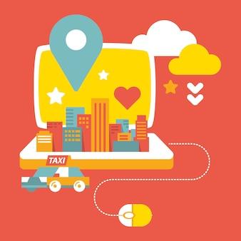 Città, computer portatile e taxi