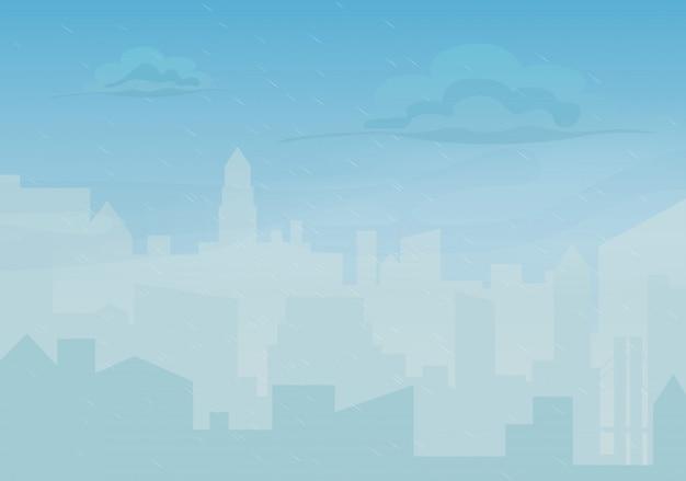 Città dei cartoni animati piovosa e nebbiosa