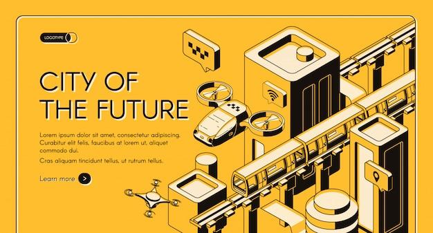 Città del futuro banner web di vettore isometrico, modello di pagina di destinazione.
