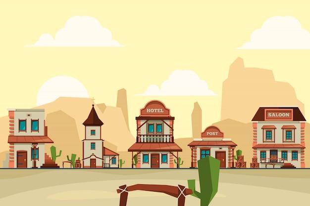 Città del selvaggio west. vecchio fondo architettonico occidentale della città degli elementi con la barra del salone e le illustrazioni del fondo del deposito