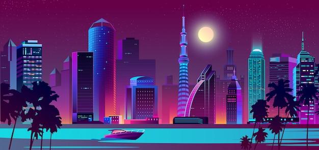 Città di notte di vettore sul fiume con la barca
