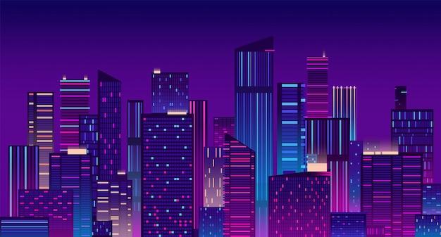 Città di notte. new york colorata urbana. illustrazione moderna di panorama di paesaggio urbano
