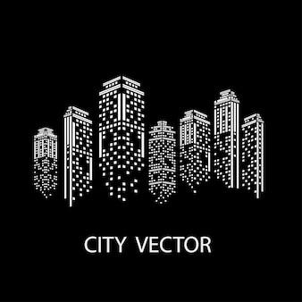 Città di notte paesaggio della città moderna. skyline della città di giorno.