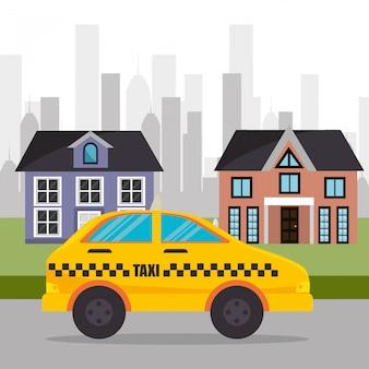 Città di servizio di taxi suburbano