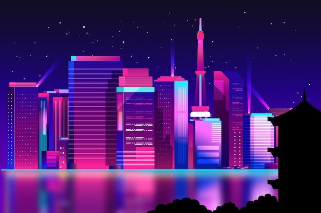 Città di tokyo in luci al neon