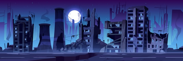 Città distrutta in guerra, edifici abbandonati di notte.