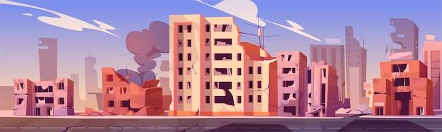 Città distrutta in zona di guerra