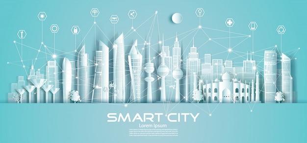 Città e icona astute di comunicazione della rete di tecnologia senza fili in kuwait.