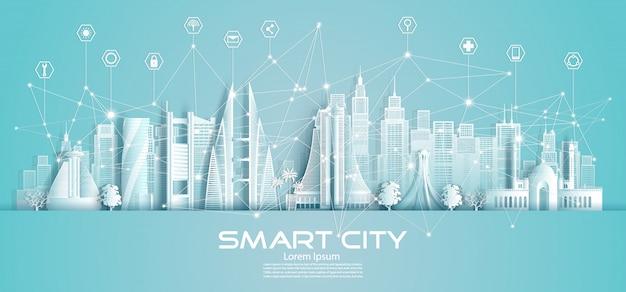 Città e icona astute di comunicazione della rete di tecnologia wireless nel bahrain.