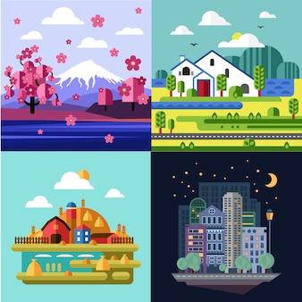 Città e villaggio, set di paesaggi naturali