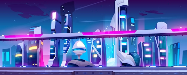Città futura con grattacieli e cavalcavia dell'autostrada