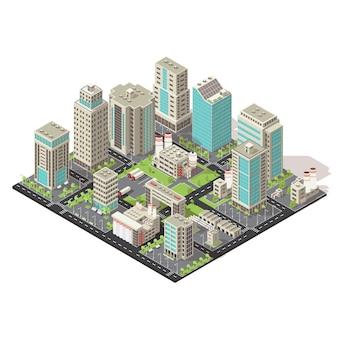 Città icona isometrica concetto