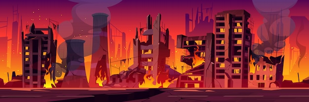 Città in fiamme, la guerra distrugge edifici rotti in fiamme
