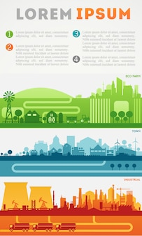 Città infografica. set colorati distretti skyline