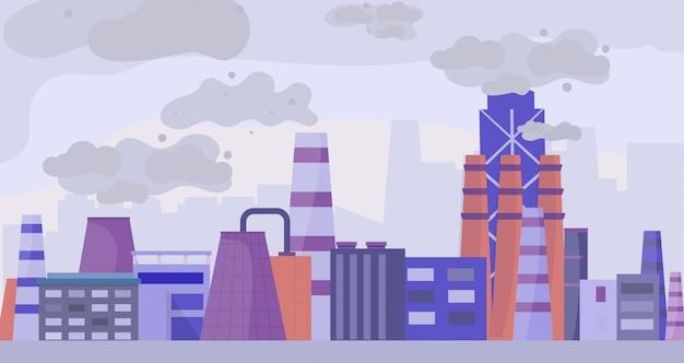 Città inquinata industriale, illustrazione piana di vettore di concetto degli spazi urbani. area e impianto di fabbrica, inquinamento dell'ambiente.