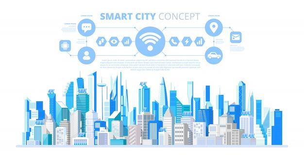 Città intelligente con servizi e icone intelligenti
