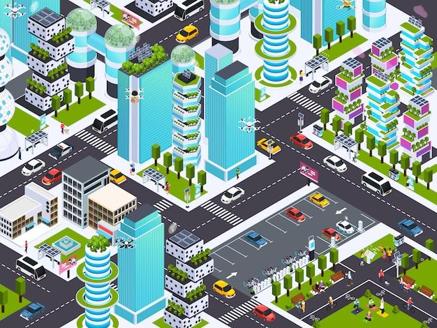 Città intelligente con tecnologia moderna, illustrazione isometrica di vettore