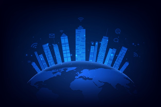 Città intelligente e sfondo della rete di telecomunicazione
