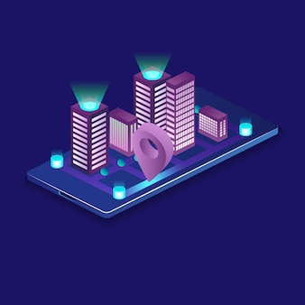 Città intelligente o edificio intelligente isometrico. automazione di edifici con l'illustrazione della rete di computer. sistema di gestione o bas