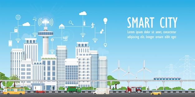 Città intelligente sul paesaggio urbano