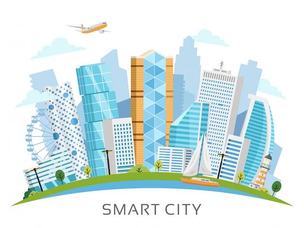 Città intelligente vettoriale con sfondo di grattacieli