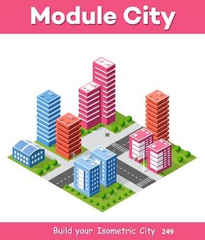 Città isometrica 3d colorato