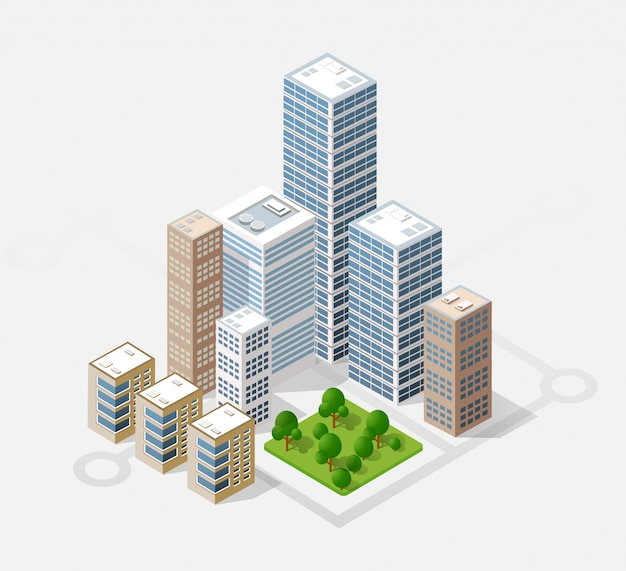 Città isometrica 3d