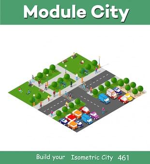 Città isometrica con persone