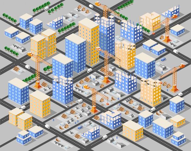 Città isometrica della città di industria edilizia della gru