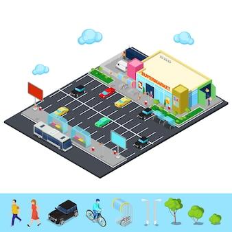Città isometrica. edificio del supermercato con parcheggio, fermata dell'autobus e posti per biciclette