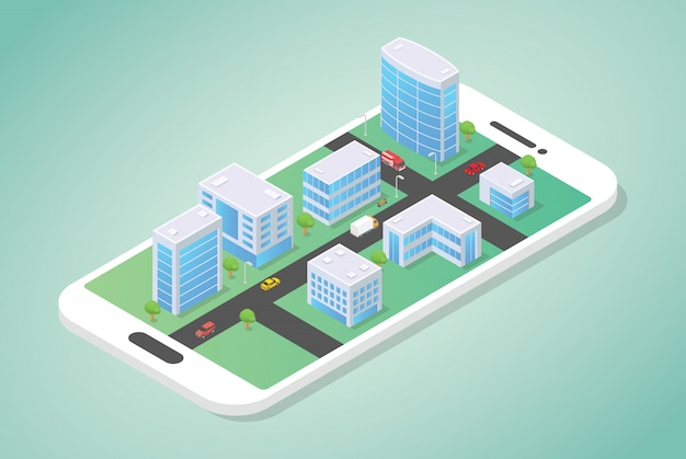 Città isometrica in cima allo smartphone con edificio e auto sulla strada con moderno stile piatto