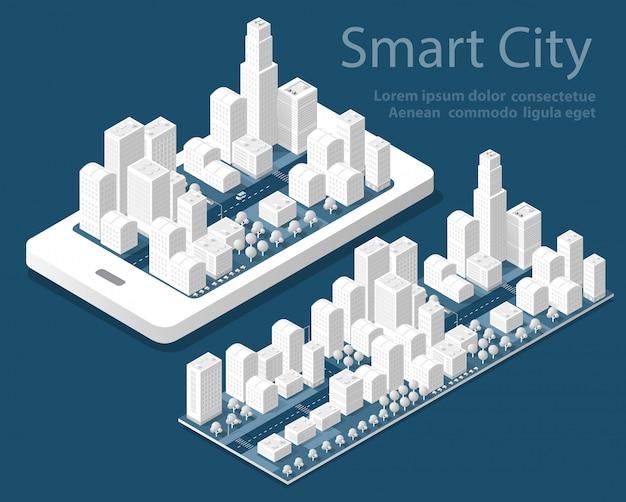 Città isometrica mappa 3d