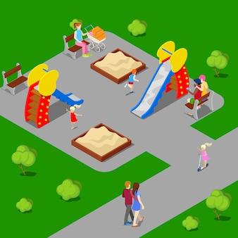 Città isometrica. parco cittadino con parco giochi per bambini. illustrazione vettoriale