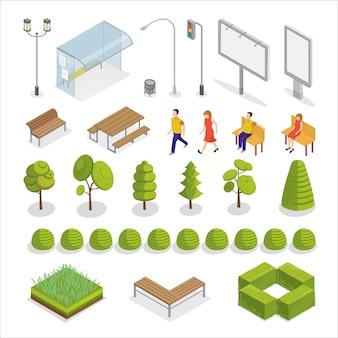 Città isometrica. persone isometriche. elementi urbani. alberi e piante.