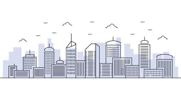 Città linea di illustrazione