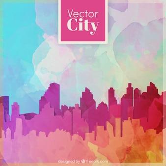 Città moderna silhouette sfondo acquerello