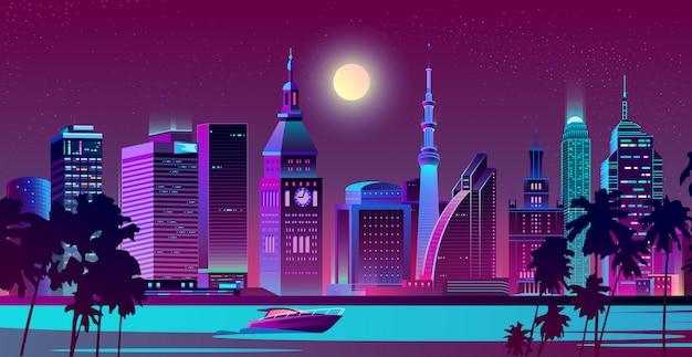 Città moderna sul vettore del paesaggio di notte della spiaggia
