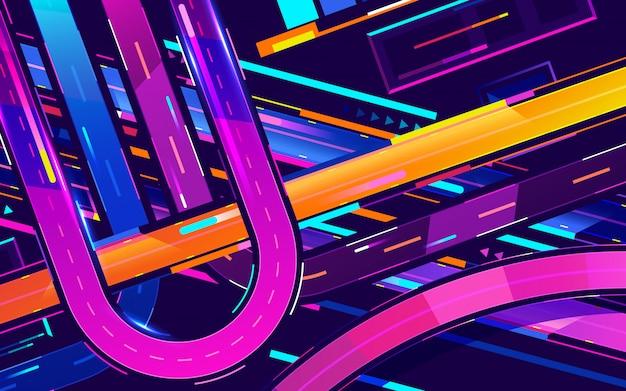 Città notte futuristica. paesaggio urbano su uno sfondo scuro con luci al neon viola e blu luminose e incandescente