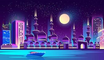 Città notturna con moschea musulmana, grattacieli.