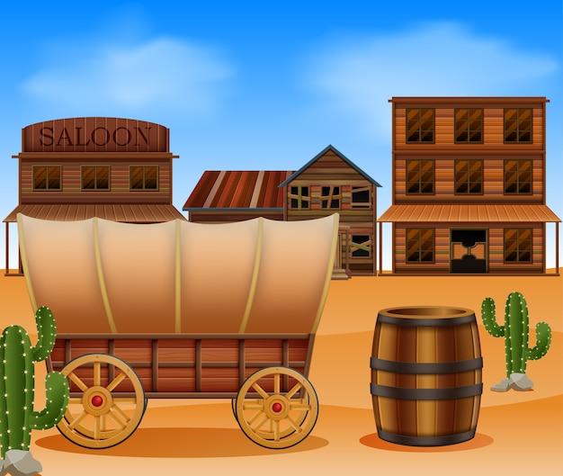 Città occidentale con carro di legno